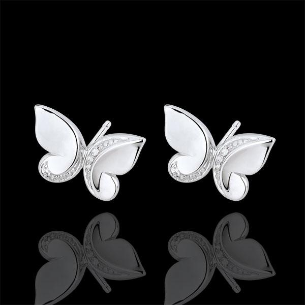 Cercei Plimbare Imaginară - model cu şurub Fluture Cascadă - aur alb de 9K şi diamante
