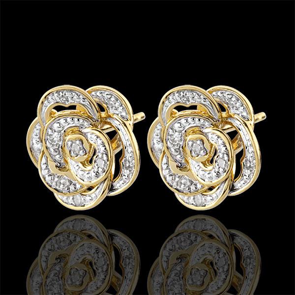 Cercei Prospeţime - Trandafir Dantelat - aur alb şi aur galben de 9K şi diamante