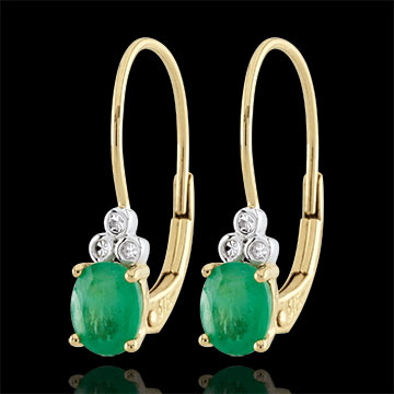Cercei Rafinament - smaralde şi diamante - aur galben de 9K