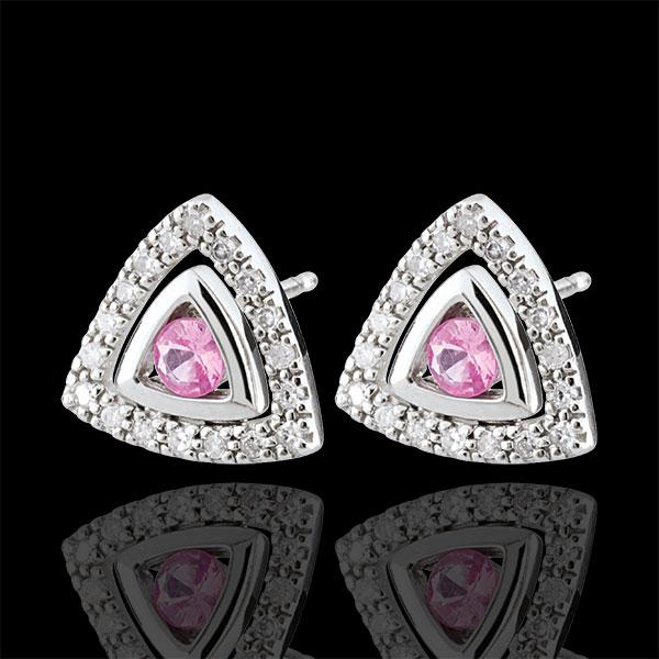 Cercei Salma - safire roz - aur alb de 9K