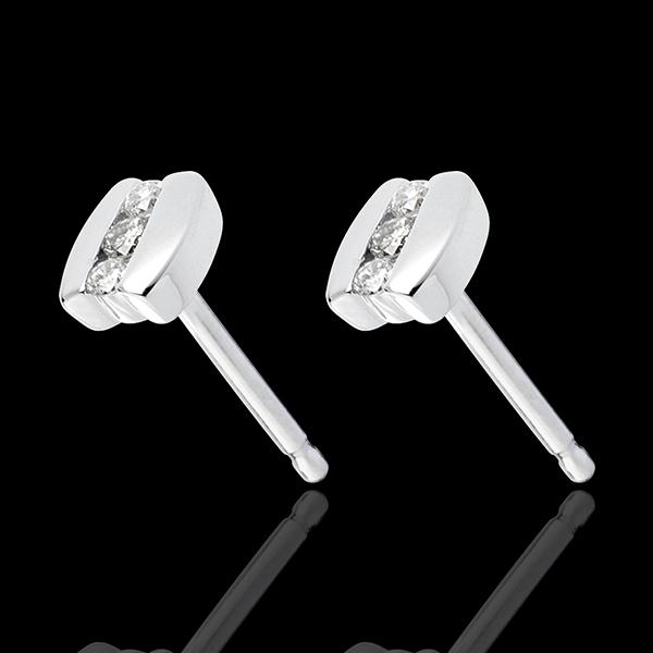 Cercei trilogie Cuib Preţios - Paranteză - aur alb de 18K - 6 diamante