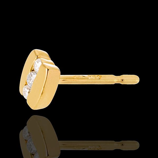 Cercei trilogie paranteză - aur galben de 18k - 6 diamante