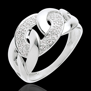 Chain ring white gold paved - 24diamonds