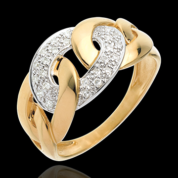 Chain ring yellow gold paved - 24diamonds