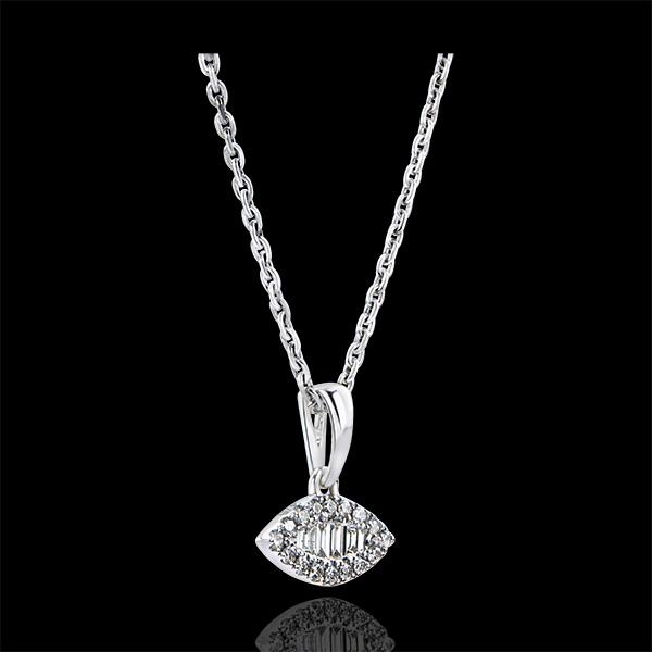 Ciondolo Abbondanza - Sguardo Levante - oro bianco 9 carati e diamanti