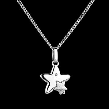 Duetto di stelle - modello piccolo - Oro bianco - 18 carati - Diamante