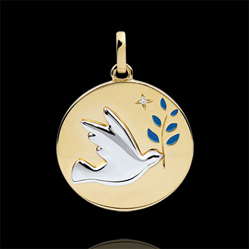 Medaglia Colomba con ramoscello - Oro bianco e Oro giallo - 9 carati - Lacca blu - 1 Diamante