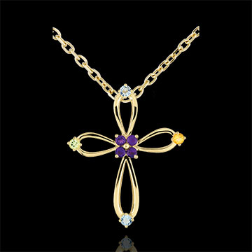 Ciondolo croce bizantina arrotondata - Oro giallo - 9 carati - Ametista - Quarzo citrino - Olivina