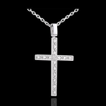 Ciondolo Croce - Oro bianco - 18 carati - 15 Diamanti - 0.15 carati