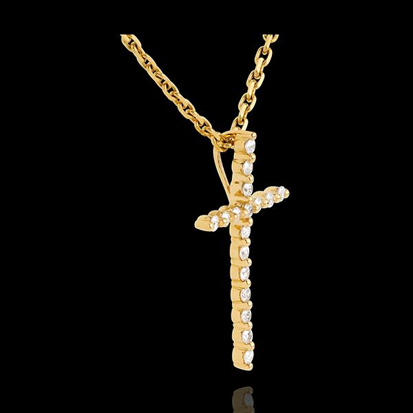 Ciondolo Croce pavé Oro giallo - 18 carati - 17 Diamanti -0.17 carati