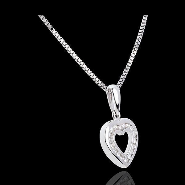 Ciondolo Cuore Abisso - Oro bianco pavé - 18 carati - 18 Diamanti - 0.18 carati