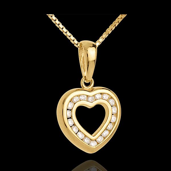 Ciondolo Cuore Abisso - Oro giallo pavé - 18 carati - 18 Diamanti - 0.25 carati