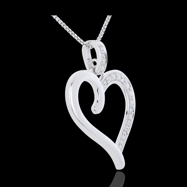 Ciondolo Cuore Amazzone - Oro bianco - 9 carati - 5 Diamanti