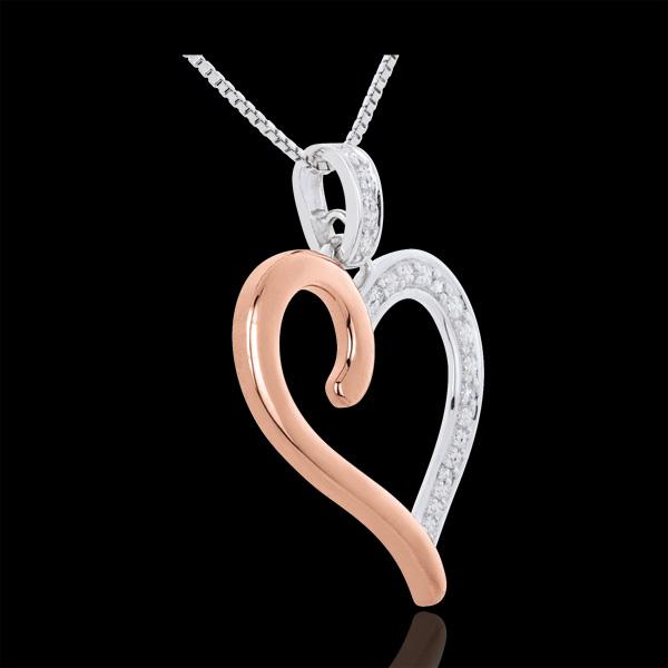 Ciondolo Cuore Amazzone Oro bianco e Oro rosa - 9 Diamanti - 5 Diamanti