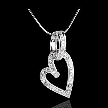 Ciondolo Cuore Appeso - Oro bianco - 18 carati - 52 Diamanti - 0.31 carati