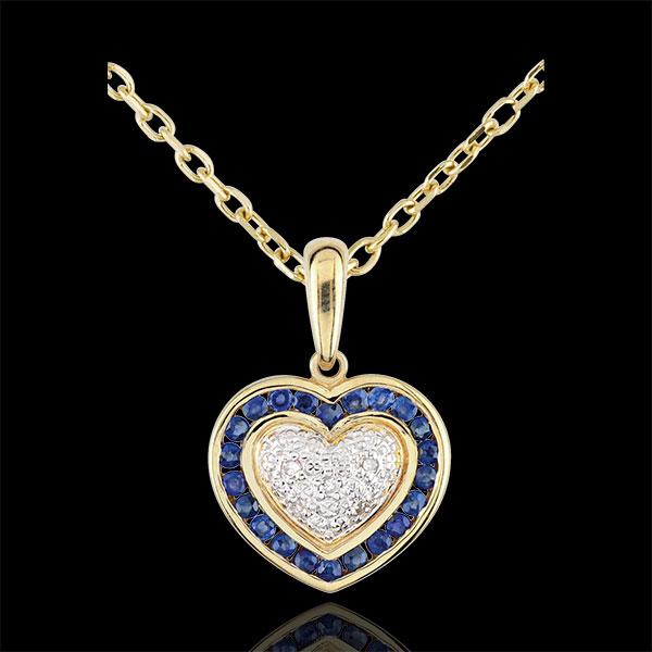 Ciondolo Cuore di Marchesa - Oro bianco e Oro giallo - 9 carati - 5 Diamanti - 22 Zaffiri