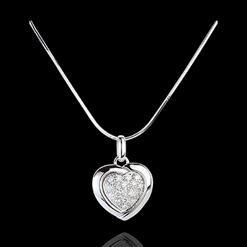 Ciondolo Sweet Heart- Oro bianco - 18 carati - 18 Diamanti - 0.2 carati