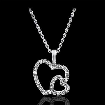 Ciondolo Abbondanza - Doppio Cuore - oro bianco 9 carati e diamanti