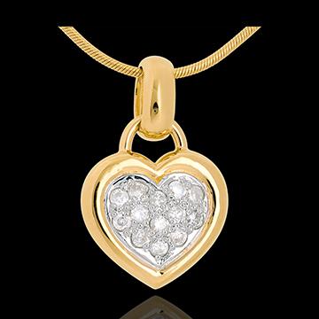 Ciondolo Cuore pavé - Oro giallo -18 carati - 13 Diamanti - 0.26 carati