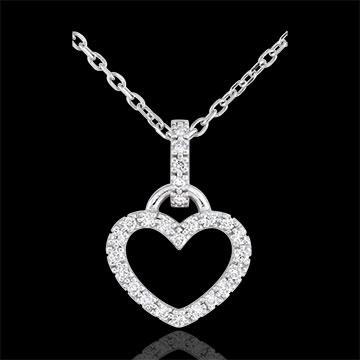 Ciondolo - Cuore incantato - Oro bianco - 9 carati - 25 Diamanti