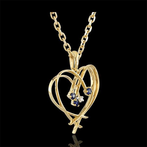 Ciondolo Cuore - Oro giallo - 9 carati - Diamante - 3 Zaffiri