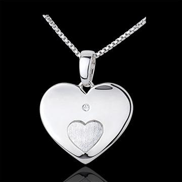 Ciondolo Cuori uniti - Oro bianco - 9 carati - Diamante