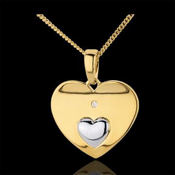 Ciondolo Cuori uniti - Oro giallo e Oro bianco - 18 carati - Diamanti