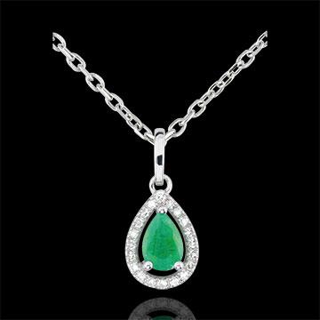 Ciondolo Pera d'India- Oro bianco - 9 carati - 1 Smeraldo - 20 Diamanti