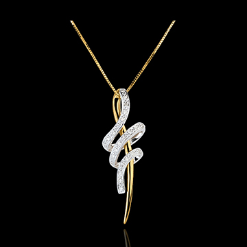 Ciondolo Nodo Serpente - Oro bianco e Oro giallo - 18 carati - 24 Diamanti - 0.12 carati
