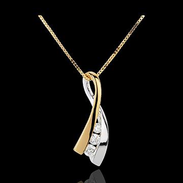Ciondolo Nodo Illusione - Oro bianco e Oro giallo - 18 carati - 3 Diamanti - 0.16 carati