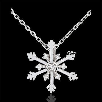 Ciondolo - Fiocco Australe - Oro bianco - 9 carati - 7 Diamanti