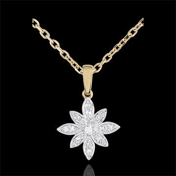 Ciondolo - Fior di stella - Oro bianco e Oro giallo - 9 carati - 13 Diamanti