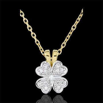 Ciondolo Freschezza - Tenero quadrifoglio - Oro bianco e Oro giallo - 9 carati - Diamanti