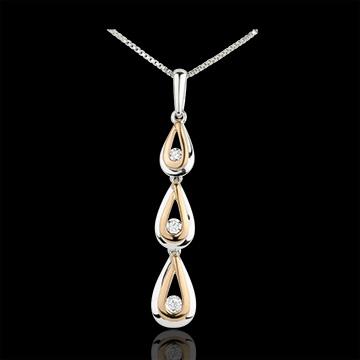 Ciondolo Gocce di rugiada variazione - Oro bianco, Oro rosa - 9 carati - 3 Diamanti