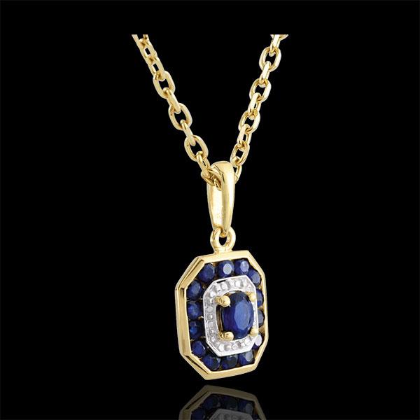 Ciondolo Oriade - Oro bianco e Oro giallo - 9 carati - 15 Zaffiri