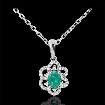 Ciondolo Principessa Margherita - Oro bianco - 9 carati - 46 Diamanti - 1 Smeraldo - 0.43 carati