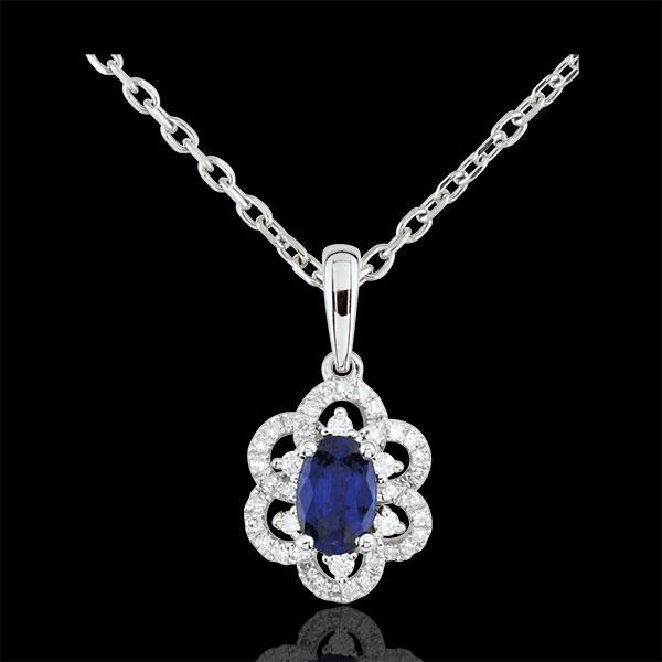 Ciondolo Principessa Margherita - Oro bianco - 9 carati - 46 Diamanti - 1 Zaffiro - 0.56 carati