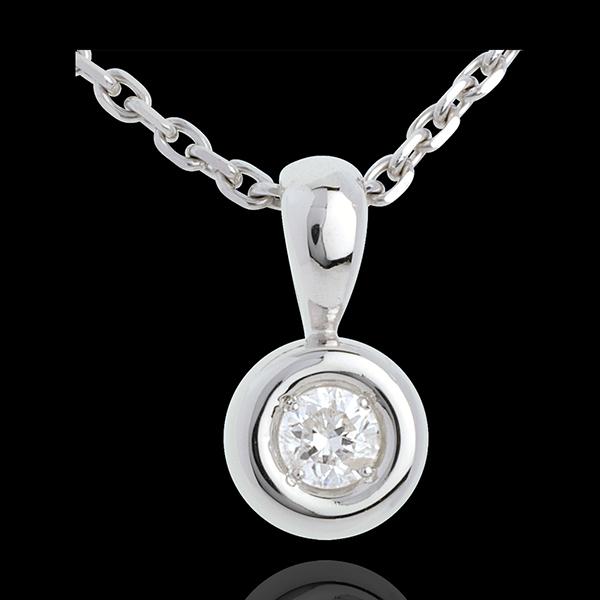 Ciondolo Punto luce - Calice - Oro bianco - 18 carati - Diamante - 0.14 carati