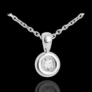 Ciondolo Punto luce - Calice - Oro bianco - 18 carati - Diamante - 0.23 carati