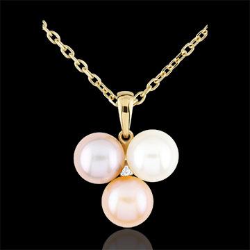 Ciondolo - Trio di perle - Oro giallo - 9 carati - Diamante - Perla - 9.78 carati