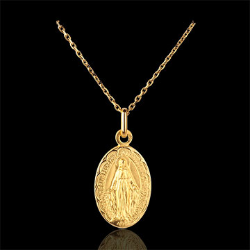 Medaglia Madonna del Miracolo - bordi lavorati - Oro giallo - 18 carati