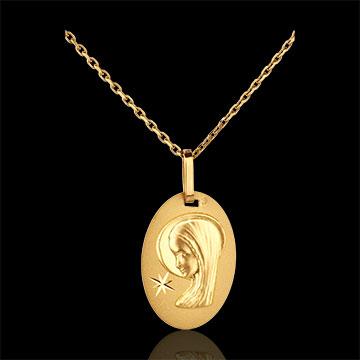 Medaglia Madonna con stella - forma ovale - Oro giallo - 18 carati