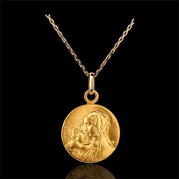 Medaglia Madonna con bambino- Oro giallo - 9 carati -16mm