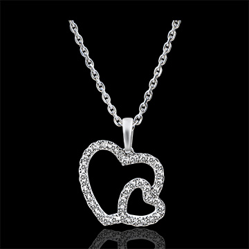 Colgante Abundancia - Doble Corazón - oro blanco de 9 quilates y diamantes