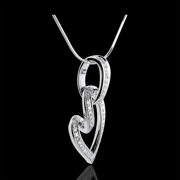 Colgante Corazón colgado - oro blanco 18 quilates - 52 diamantes