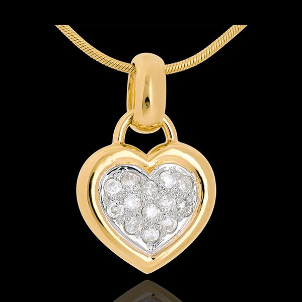 Colgante corazón empedrado oro amarillo - 0.26 quilates - 13 diamantes