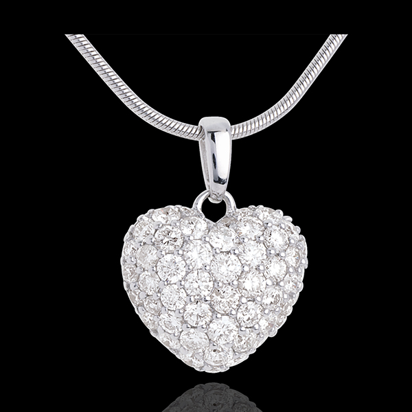 Colgante corazón empedrado oro blanco y campanita 1.04 quilates - 50 diamantes