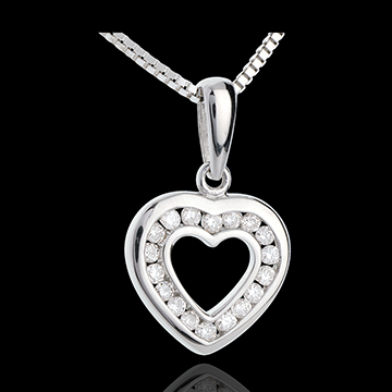 Colgante Corazón in Love - oro blanco empedrado - 18 diamantes