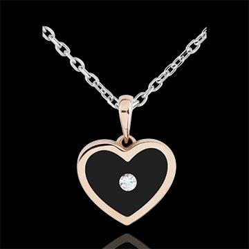 Colgante Corazón Mágico - oro rosa y blanco 18 quilates