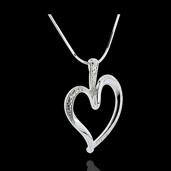 Colgante Corazón - oro blanco 18 quilates - 10 diamantes